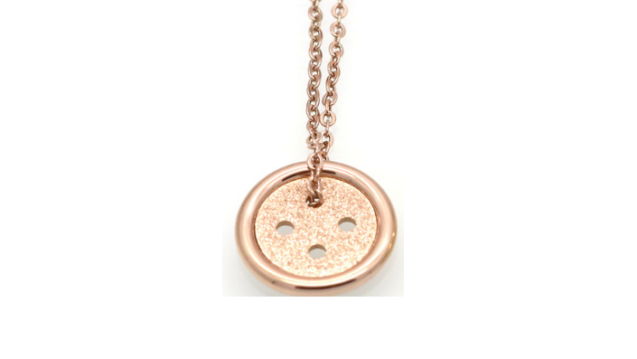 N455 Small rose button necklace