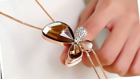 N469g Long crystal butterfly necklace