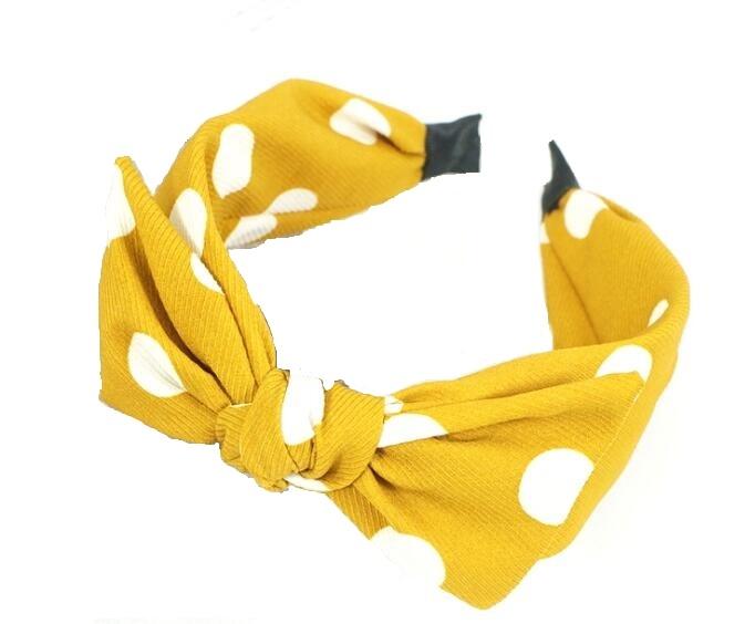Polka Dot Hair Band Mustard