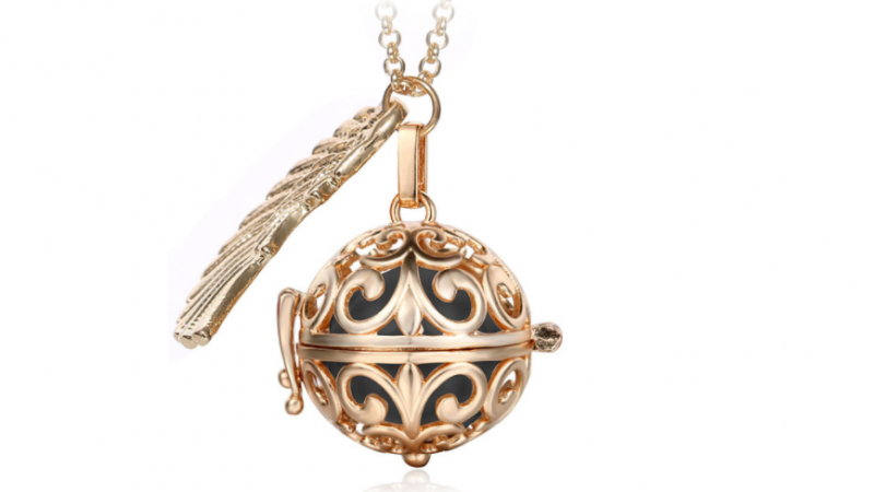 Bola  necklace Rose gold/black