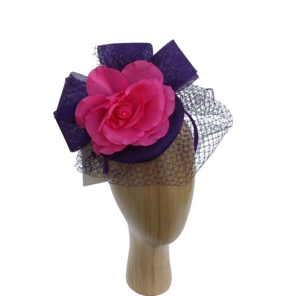 Taylor Purple/cerise Fascinator