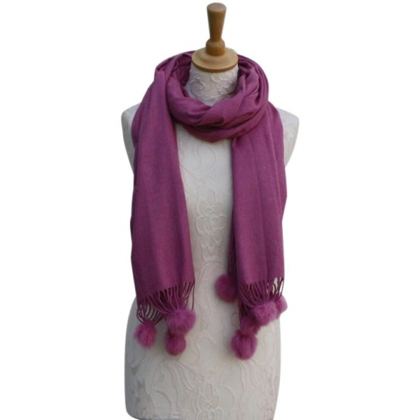 Ws001 Berry Cashmere Blend Pashmina With Small Pom Pom