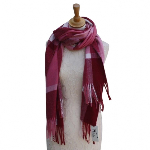 Ws002 Pink Cashmere Blend Pashmina With Large Check Pattern