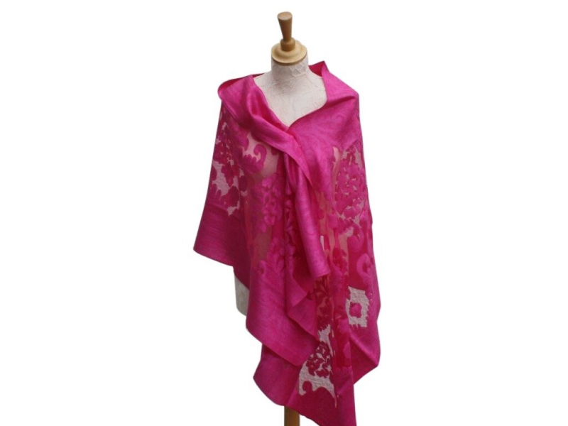 Viscose,cotton & silk wrap Fuchsia