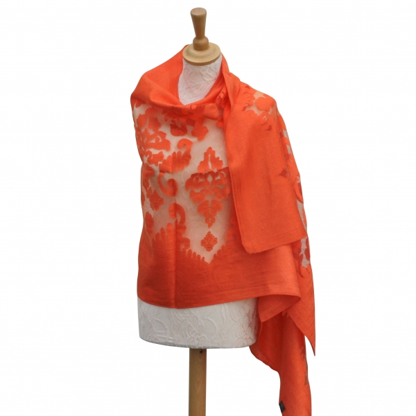 Viscose,cotton & silk wrap Orange