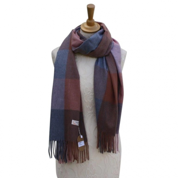 Ws006 Pink Cashmere Blend Pashmina With Check Pattern