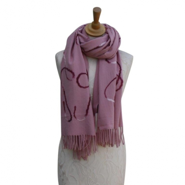 Ws008 Pink Wool/Viscose Patterned Scarf